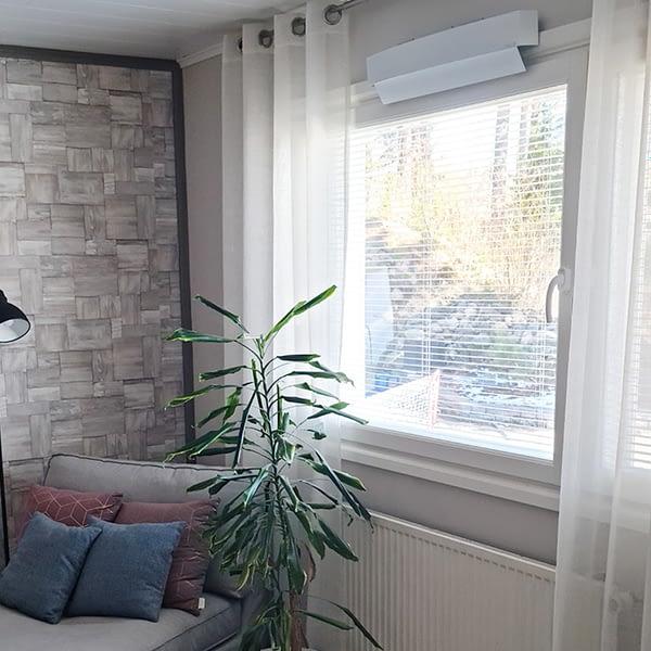 Korvausilmaventtiili ikkunaan asennettuna